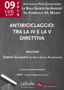 """Locandina convegno """"Antiriciclaggio: tra la IV e la V Direttiva"""""""