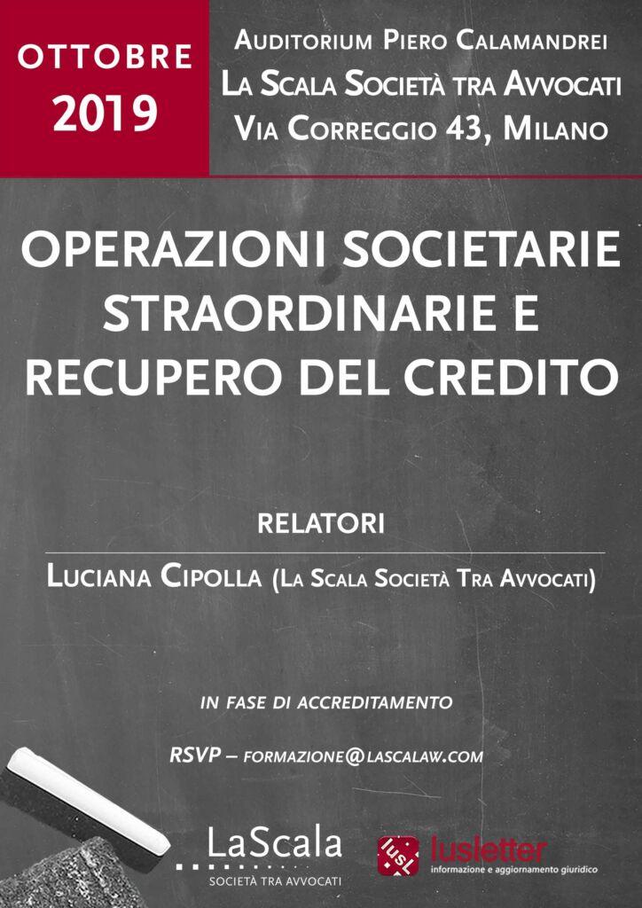 Operazioni societarie straordinarie e recupero del credito