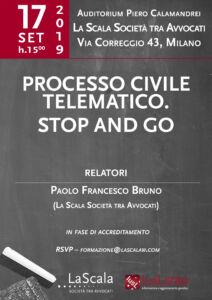 """Locandina convegno """" Processo civile telematico. Stop and go"""""""